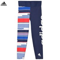 adidas Performance Multi Stripe Branded Leggings NOBLE INDIGO S18/WHITE/HI-RES BLUE S18/REAL CORAL