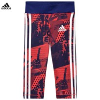 adidas Performance Pink and Blue Printed Capri Running Leggings REAL CORAL S18/REAL PURPLE S18/WHITE