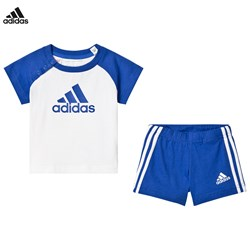 adidas Performance Blue and White Shorts and Tee Set