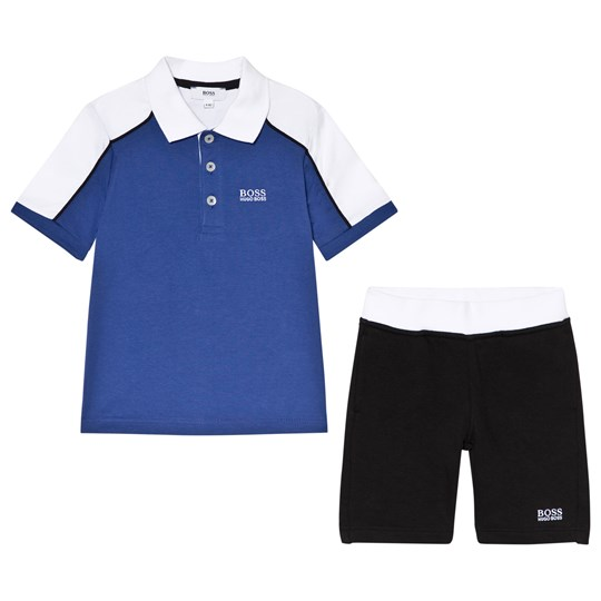 BOSS Blue Branded Polo and Black Sweat Shorts Set 861