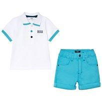 BOSS White Branded Polo and Aqua Shorts Set N48
