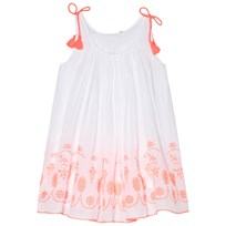 Billieblush White and Pink Embroidered Gathered Dress Z40