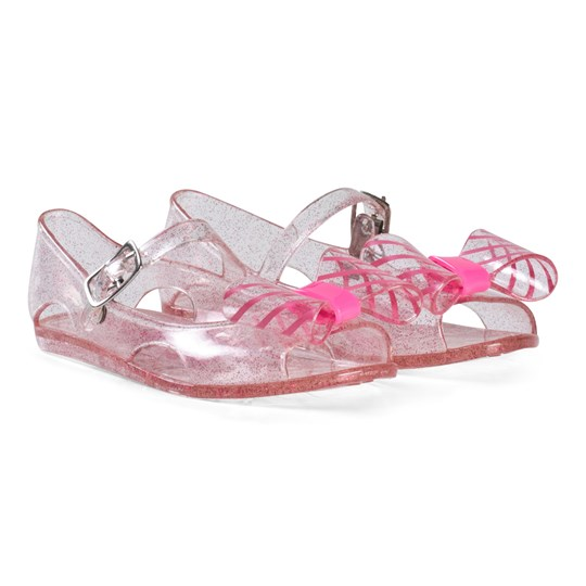 Billieblush Transparent Pink Bow Detail Jelly Sandals Z40