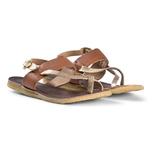 Image of Bisgaard Woven Leather Sandals Brown and Gold 30 EU (2976071007)