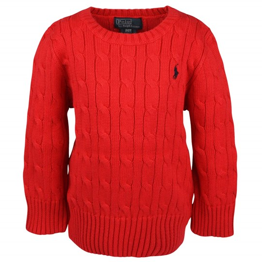 Ralph Lauren LS Classic Cable Polo Red Red
