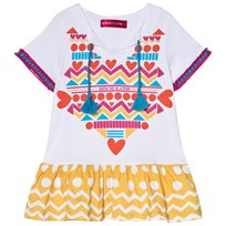 Agatha Ruiz de la Prada White Dress With Yellow And White Patterned Bottom White