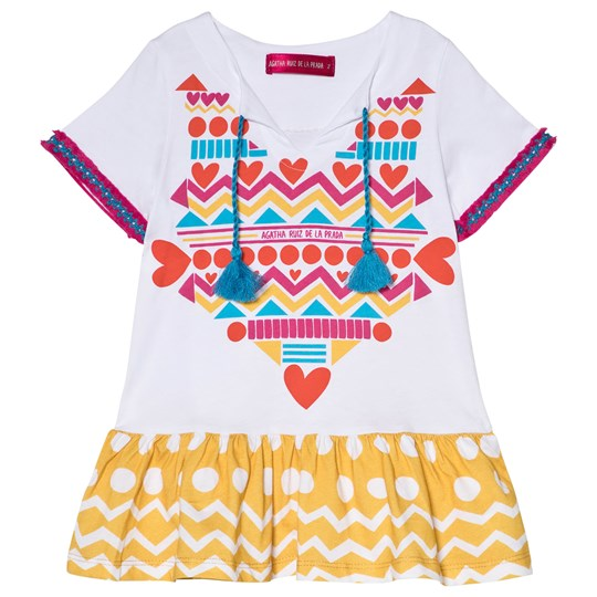 Agatha Ruiz de la Prada White and Yellow Patterned Dress White