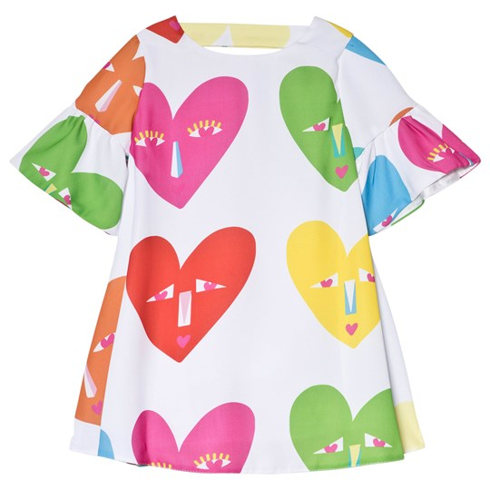 Agatha Ruiz de la Prada Multicolor Heart Face Print Dress White White