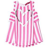 Agatha Ruiz de la Prada Pink And White Striped Dress With Heart Print Pink and White