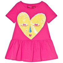 Agatha Ruiz de la Prada Pink Dress With Yellow Heart Face Print Pink