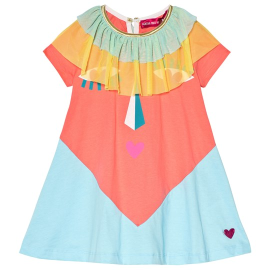 Agatha Ruiz de la Prada Blue and Pink Heart Face Dress Blue