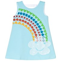 Agatha Ruiz de la Prada Blue Sleeveless Dress With Rainbow And Cloud Print Blue