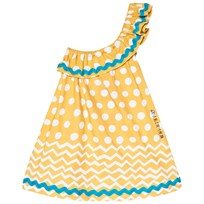 Agatha Ruiz de la Prada Yellow And White Striped Off One Shoulder Dress Yellow