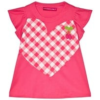 Agatha Ruiz de la Prada Pink Dress With Pink And White Gingham Heart Pattern Pink