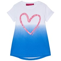 Agatha Ruiz de la Prada White And Blue Tie Dye Dress With Heart Print White and blue