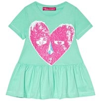 Agatha Ruiz de la Prada Blue Dress With Pink Heart Face Print Blue