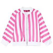 Agatha Ruiz de la Prada Pink And White Striped Bomber Jacket With Heart Print On Back Pink & White