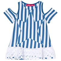 Agatha Ruiz de la Prada Blue And White Striped Dress With Star Print Blue & White