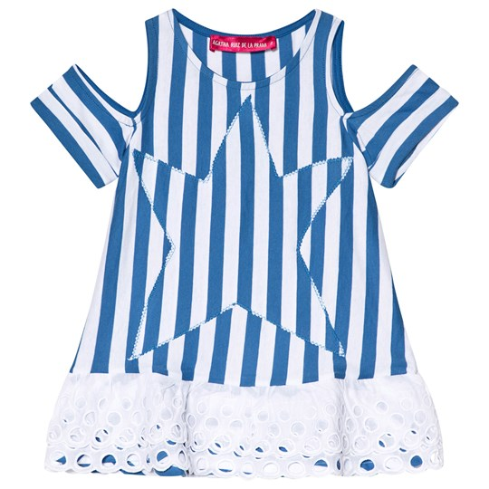 Agatha Ruiz de la Prada Blue and White Star Print Dress Blue & White