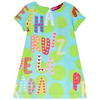 Agatha Ruiz de la Prada Blue Dress With Green Spots and Multicolour Agatha Print Blue & Green