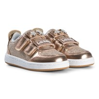 Lelli Kelly Gold Metallic and Jewelled Heart Detachable Velcro Strap Trainers BRONZE METALLIC