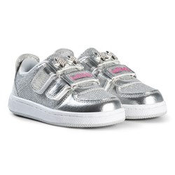 Lelli Kelly Silver Metallic and Jewelled Star Detachable Velcro Strap Trainers