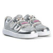 Lelli Kelly Silver Metallic and Jewelled Heart Detachable Velcro Strap Trainers SILVER METALLIC