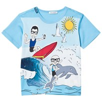 Dolce & Gabbana Blue Dolce & Gabbana Cartoon Beach Print Tee HCI62