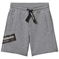 Dolce & Gabbana Grey Marl Sweat Shorts with Branded Patch S8291