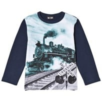 Me Too Tröja, Otto 431, Train Print, Dress Blues Navy