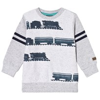 Me Too Sweatshirt, Otto 433, Train Print, Grey Melange Black