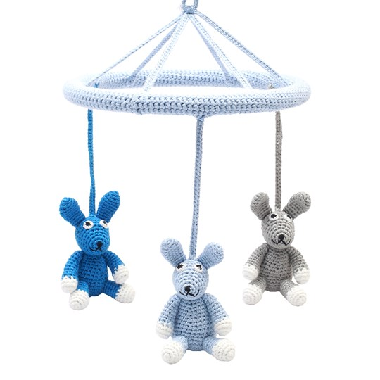 natureZOO Three Rabbits Circle Mobile Blue Blue