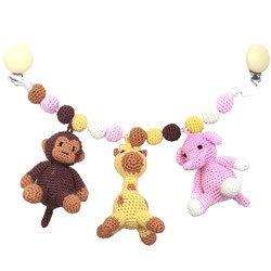 natureZOO Monkey, Giraffe och Elephant Large Barnvagnsmobil Light Pink