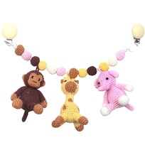 natureZOO Monkey, Giraffe and Elephant Large Trolley Mobile Light Pink Pink