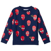 Fabric Flavours Blue Spider-Man Faces Sweatshirt Blue