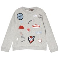 Emile et Ida Gris Chine Badges Sweatshirt Gris Chine