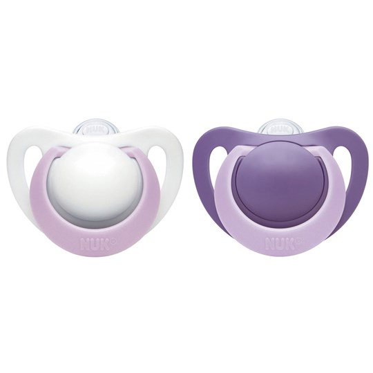NUK 2-Pack Genius Silicone Pacifier 0-2 Months Purple/White Lila/Vit