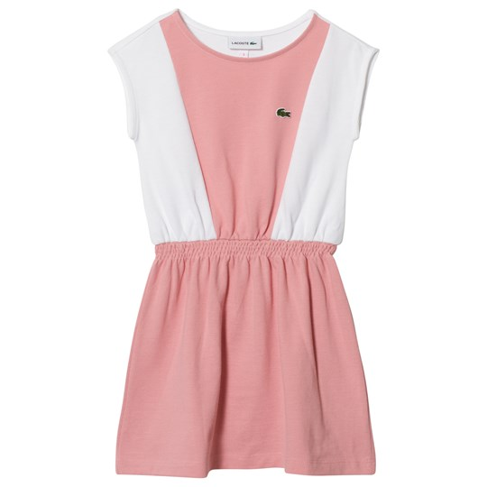 Lacoste Panelled Sleeveless Dress Pink and White Fairy Pink/White