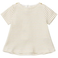 Petit Bateau Gold and White Striped T-shirt