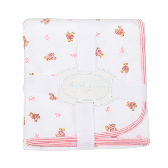 Ralph Lauren Bear Receiving Blanket Pink Pink