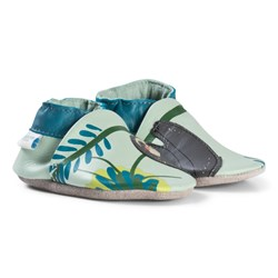 Robeez Mint Sloth and Jungle Print Leather Crib Shoes