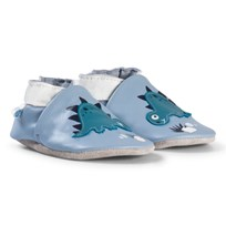 Robeez Blue Dinosaur Leather Crib Shoes Bleu clair/Light blue