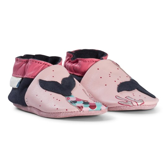 Robeez Pink Mermaid Applique Leather Crib Shoes Rose/Pink