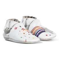 Robeez White Rainbow Shooting Star Leather Crib Shoes Blanc/White