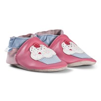 Robeez Pink Cupcake Leather Crib Shoes Rose fonce/Dark pink