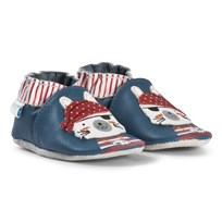 Robeez Blue Pirate Cat Leather Crib Shoes Bleu Denim/Blue denim