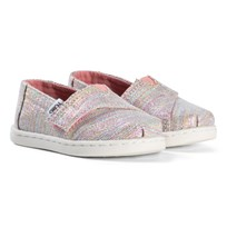 Toms Pink Multi Glimmer Tiny Espadrilles PINK MULTI TWILL GLIMMER