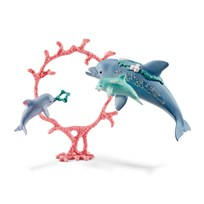 Schleich Dolphin Mum with Babies Blue