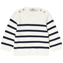 Cyrillus White and Navy Knit Jumper 6398