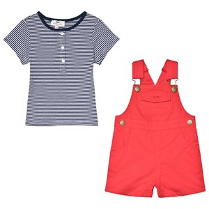 Cyrillus Navy and White T-Shirt and Red Overalls Set 9 months